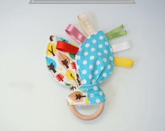 Teething ring BUNNY in wood untreated baby toy