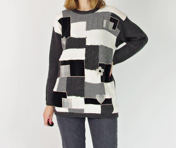 90s Monochromatic patchwork wool sweater / size M-L