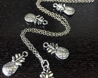 Pineapple Pendant Necklace \\ Silver Jewelry \\ Silver Chain