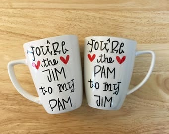 You're the Jim to my Pam Mug Set. The Office Mug. The Office tv show Mug. Jim Pam Mugs.