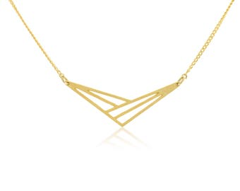 Geometric Necklace, Triangle Necklace, Gold Triangle Necklace, Geometric PendantNecklace,Short Necklace, Chain Necklace, Casual Jewelry