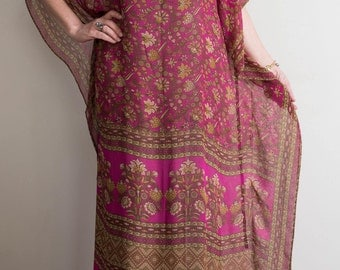 Pink maxi caftan. Sheer Silk chiffon fabric.