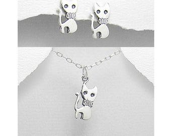 Silver 925 cat pendant and earrings