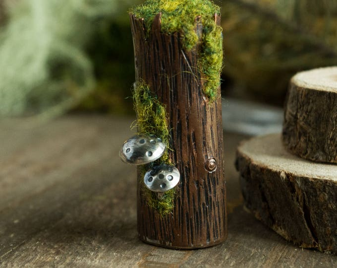 Mossy Snag Log Brooch, Copper, Sterling Silver and Wool