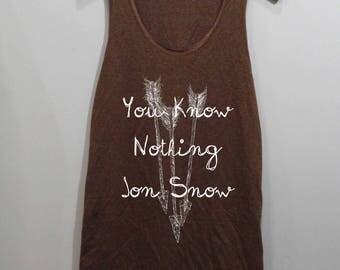 You Know Nothing Jon Snow Shirt Tank Top Singlet Tunic TShirt T Shirt
