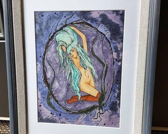 "ORIGINAL Piece Artwork By Kayla Townsend ""Locks And Lavender"" // Ink and Alcohol on Seed Paper // Matted and Framed"