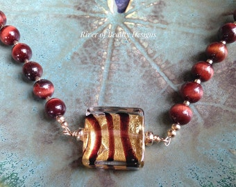 Red Tiger Eye + Murano Glass Necklace, 24-Inch Dark Red-Brown + Gold Beaded Necklace, Venetian Lampwork Glass, River of Beauty Designs