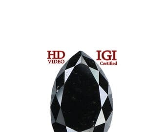 GIA CERTIFIED 1.25 Ct Natural Loose Diamond Pear Modified Brilliant Black L7998