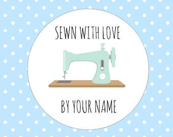 Sewn With Love Stickers Business Name Stitched Sewing Custom Name Stickers Round Sewing Machine Packaging Stickers
