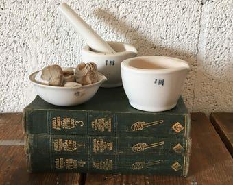 set of 3 vintage mortar pestle collection white porcelain coors mortar pestle vintage lab vintage laboratory