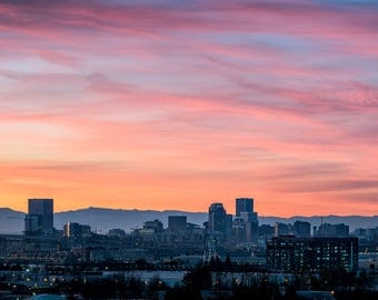 Portland Oregon Photography, Sunrise Photograph, Portland Wall Art, Mt Hood, Metal Print, Wall Decor, PDX, Panorama, Pacific Northwest