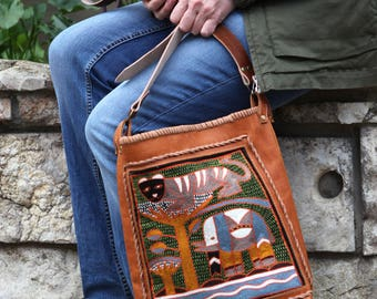 Large Embroidered Tote Bag - Leather Boho Tote Bag - Large Leather Tote Bag - Large Orange Tote Bag - Orange Leather Tote Bag