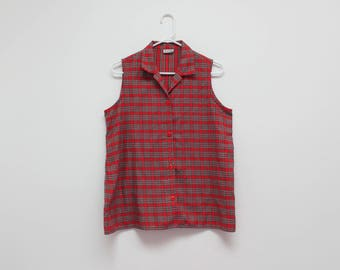 90's Red and Green Plaid Retro Sleeveless Top