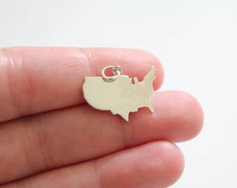 Sterling Silver United States Pendant, Simple United States Charm, Patriotic Charm, USA Pendant, Silver USA Pendant