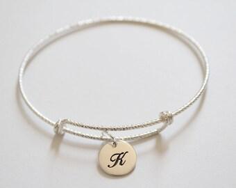 Sterling Silver Bracelet with Sterling Silver Cursive K Letter Charm, Bracelet with Silver Letter K Pendant, Initial K Charm Bracelet, K