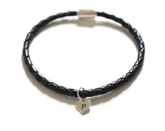 Leather Bracelet with Sterling Silver P Letter Heart Charm, Silver Tiny Stamped P Initial Heart Charm Bracelet, Letter P Charm Bracelet, P