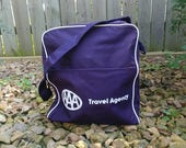 New Old Stock Navy Blue AAA Travel Agency Shoulder Tote Carry On Bag Purse