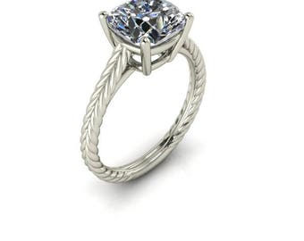 Contemporary Solitaire Engagement Ring, Forever One Moissanite, Twisted Rope Design, Diamond Alternative