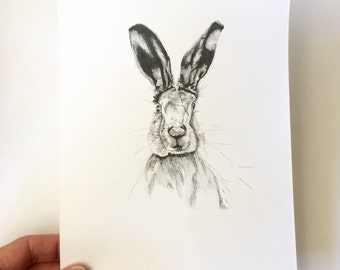 Hare Print A5 - Black and white Illustration - wall decor - Nature Illustration - hare drawing