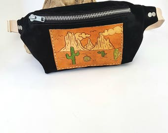 Desert Fanny Pack Leather hip bag Festival Accessories gift for her