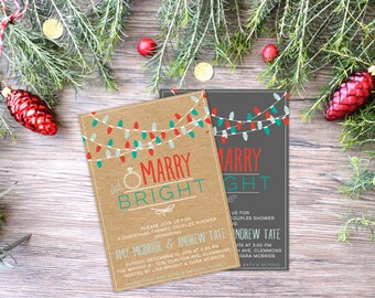 Christmas Shower Invitation | Printable or Printed | Holiday Wedding Shower | Couple's Shower | Christmas Themed Shower | ENVELOPES INLCUDED