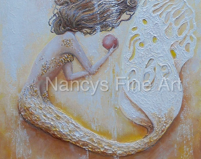 Beautiful mermaid wall art in gold and yellow. Gicilee prints available.  The Pink Pearl painting by artist, Nancy Quiaoit.
