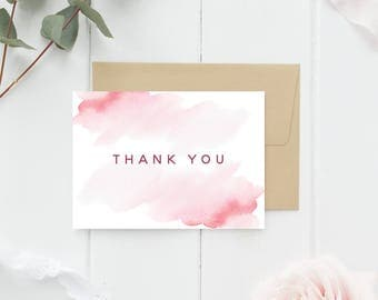 Pink, Watercolor Thank You Cards - 10 Card Packs