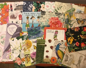 Paper napkin assortment for art journal, collage and decoupage needs set 2