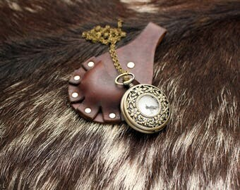 Steampunk Leather Pocket Watch Holster---Dark Brown