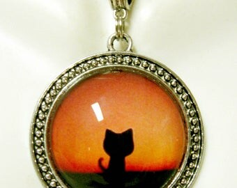 Red sunset kitty pendant with chain - CAP26-005