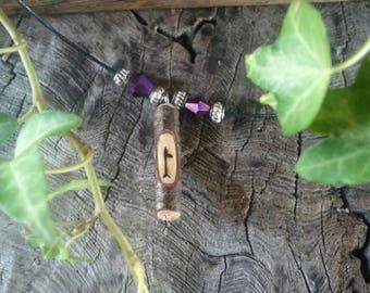 Birch Wood Ogham Pendant, Birch Wood Amulet Necklace, Birth Tree Ogham Pendant, Adjustable Necklace, Ogham Pendant, Amulet Necklace