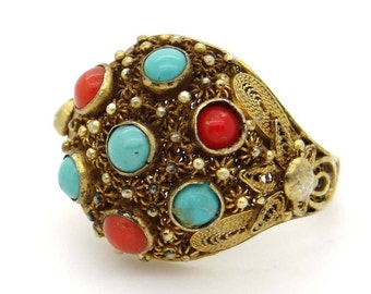 Chinese Export Ring, Red Coral, Blue Turquoise & Sterling Silver Ring, Antique Gold Wash Silver Filigree Ring, Asian Chinese Vintage Jewelry