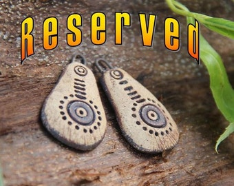 RESERVED for Tina: a pair of stoneware dangles, RUSTIC and EARTHY ceramic beads - handmade jewelry components