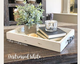 Magazine Tray - Coffee Table Tray - Farmhouse Tray - Bed Tray - Breakfast  Tray -