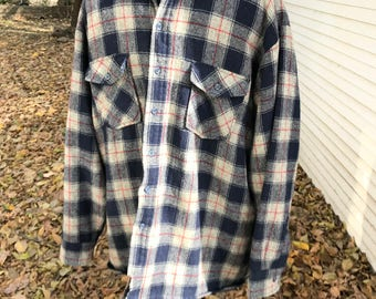 Plaid Wool Lumberjack Field Shirt Jacket/Rugged/Outdoors/Grizzly Brand/1960s 70s/Logger/Quilted Lining/ XL/Woodsman/Cabin/Camping/Hiking