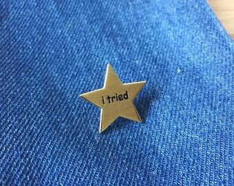 I tried Gold Star Funny Meme Shiny Gold Hard Enamel Pin (Funny enamel pin, Gold star, Star enamel pin)