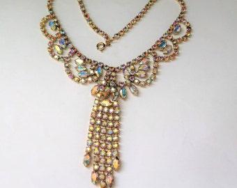 Vintage Necklace With Sparkly Aurora Borealis Claw Set Rhinestones Wedding Jewellery/Jewelry With Original Box