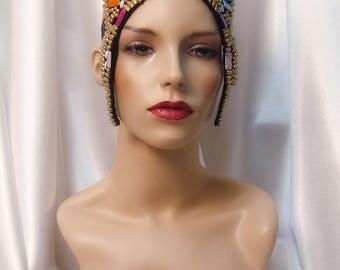 Beaded Cleopatra Headpiece, Egyptian Inspired Headpiece, Cleopatra Crown