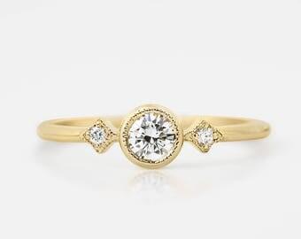 Unique diamond engagement ring,  4mm conflict free diamond, 14k, 18k, gold, rose gold, white gold, platinum,  0.25 ~ 0.3ct, sta-r103-dia-4mm