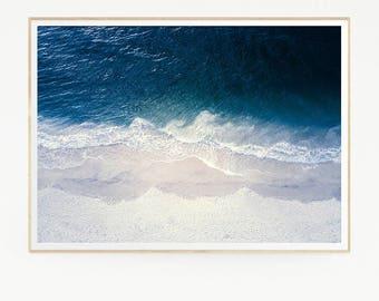 Sea Waves Wall Decor Print Poster Tropical Beach Marine Foam Retro Vintage Colour Photo Nature Sea Minimalist Blue Water Photography 1015