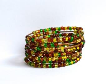 Memory Wire Bracelet, Bohemian Bracelet, Czech glass bracelet, Bracelets, Handmade bracelet, Fall bracelet, Gift for her, Christmas gift
