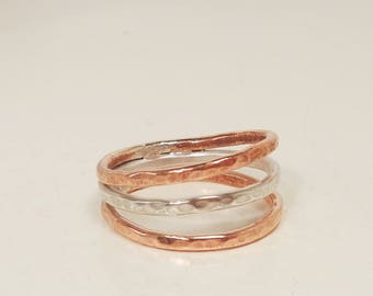 Silver and Copper Hammered Ring - Mixed Metal Triple Band - Unique Jewelry - 3rd Anniversary Gift for Her -  Hand Made in Canada - Size 6.5
