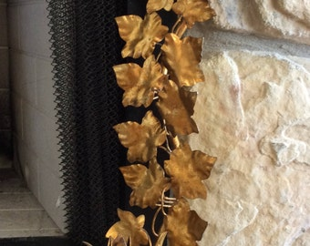 """Vintage 19"""", Gold Gilt, Metal Tole, Floral & Vine Wall Sconce, Made in Italy, Florentia, Hollywood Regency, French Country"""
