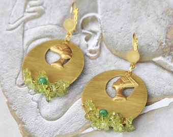 For bust of Nefertiti brass jewelry gold sleeper and semiprecious stones and Peridot earrings
