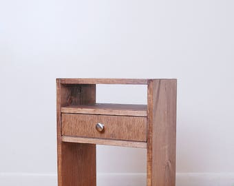 Rectangle Side table, Handmade Nightstand, End table with 2 Shelves and 1 or 2 Drawers made from Reclaimed Wood- Walnut