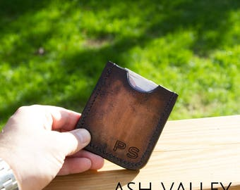 Leather Wallet, small but solid!  Personalised with your initials