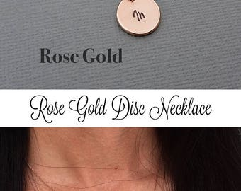 ROSE GOLD Necklace, Personalized Necklace, Hand Stamped Necklace, Rose Gold Disc Necklace, Mother's Day, Initial Necklace, Bridesmaid Gift