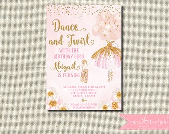 Ballerina Invitation, Ballerina Birthday, Pink and Gold Tutu Birthday Invitation, Ballerina Birthday Invitation, Ballerina Invite