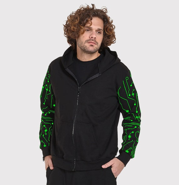 Mens hooded sweater with 2 pockets and vinyl print pattern -Flower of Life- psy clothing-trance-Festival Wear-psychedelic clothing 76umeK3l5H