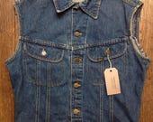 "Vintage 1980s 80s Lee denim cut off vest waistcoat biker motorcycle 40"" chest made in Canada"